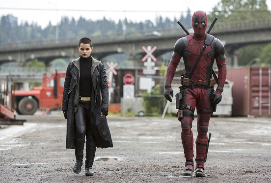 brianna hildebrand and ryan reynolds in DEADPOOL